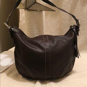 Coach leather chocolate hobo bag